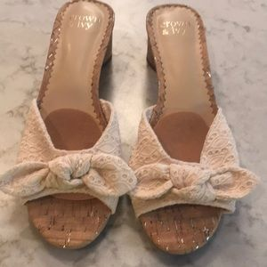Lacey cream slip ons. Size 8 1/2
